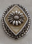 Oval 1950s Scarf Ring in Aluminium with Large Daisy Design (SOLD)